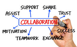 Collaboration flowchart hand drawing on whiteboard Stock Image