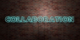 COLLABORATION - fluorescent Neon tube Sign on brickwork - Front view - 3D rendered royalty free stock picture Stock Image