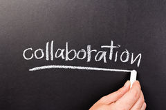 Collaboration. Hand writing Collaboration word as topic with chalk royalty free stock photo