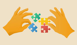 Collaboration. Hands with puzzle pieces, vector illustration of collaboration Royalty Free Stock Images