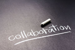 Collaboration. Handwriting of Collaboration word as topic with chalk stock photography