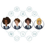The collaboration of office workers via the Internet technology Royalty Free Stock Photo