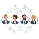 The collaboration of office workers via the Internet technology. File sharing through cloud-based tools in a team of business analysts and project managers Royalty Free Stock Photo