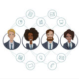 The collaboration of office workers via the Internet technology. File sharing through cloud-based tools in a team of business analysts and project managers Stock Images