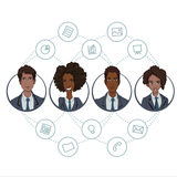 The collaboration of office workers via the Internet technology. File sharing through cloud-based tools in a team of business analysts and project managers Stock Photos