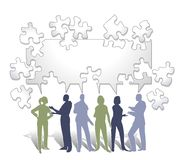 Collaboration Puzzle. An illustration featuring a group of business people silhouettes in blue, grey and green tones sharing a talk bubble made of puzzle pieces stock illustration
