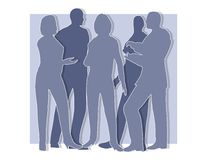 Collaboration Silhouettes Blue Royalty Free Stock Photo