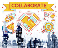 Collaboration Solution Partnership Cooperation Concept. Business People Discuss Collaboration Solution Partnership Cooperation Royalty Free Stock Photos