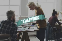 Collaboration Team Graphic Word de travail d'équipe images stock