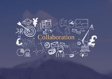 Collaboration text with drawings graphics Royalty Free Stock Photo