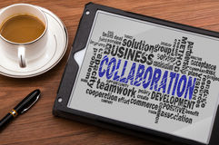 Collaboration word cloud. With related tags Royalty Free Stock Images