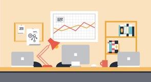Collaboration workspace office illustration. Flat design modern vector illustration of stylish workspace interior for team collaboration or people co-working