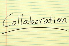 Collaboration On A Yellow Legal Pad. The word `Collaboration` underlined on a yellow legal pad royalty free stock image