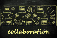 Collaborations and teamwork: shared desk with laptops and busine Royalty Free Stock Photos