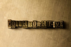 COLLABORATIVE - close-up of grungy vintage typeset word on metal backdrop Stock Images