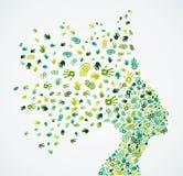 Collaborative Ecology Woman head concept Stock Photos