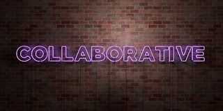 COLLABORATIVE - fluorescent Neon tube Sign on brickwork - Front view - 3D rendered royalty free stock picture Stock Images