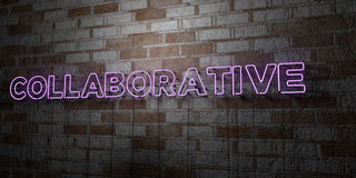 COLLABORATIVE - Glowing Neon Sign on stonework wall - 3D rendered royalty free stock illustration Stock Images