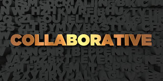 Collaborative - Gold text on black background - 3D rendered royalty free stock picture Royalty Free Stock Photos