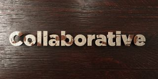 Collaborative - grungy wooden headline on Maple  - 3D rendered royalty free stock image Royalty Free Stock Images