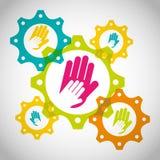 Collaborative hands design Stock Photo