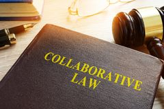 Collaborative Law or collaborative practice, divorce or family law. Collaborative Law or collaborative practice, divorce or family law on a desk royalty free stock image