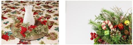 Collag del blanco de los saludos de la linterna de la vela de la exhibición de la Navidad Imagen de archivo libre de regalías