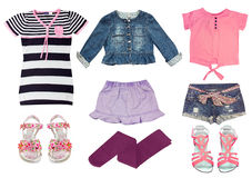 Collag set of female kid clothes isolated on white. Royalty Free Stock Photo