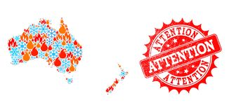 Collageöversikt av Australien och Nya Zeeland av brand och snö och uppmärksamhet texturerad stämpel royaltyfri illustrationer