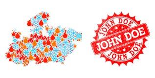 Collageöversikt av den Madhya Pradesh staten av flamman och snö och John Doe Distress Stamp royaltyfri illustrationer