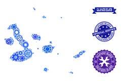 Collageöversikt av Galapagos öar med kugghjulhjul och gummiskyddsremsor för service royaltyfri illustrationer
