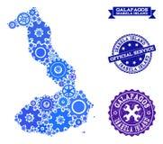 Collageöversikt av Galapagos - Isabela Island med kugghjul och Grungestämplar för service royaltyfri illustrationer