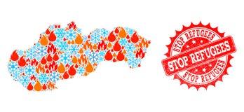 Collageöversikt av Slovakien av brand och snöflinga- och stoppflyktingGrungeskyddsremsan stock illustrationer
