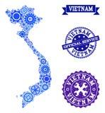 Collageöversikt av Vietnam med kugghjul och Grungeskyddsremsor för service stock illustrationer
