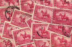 Collage of 1935 Mountie Canadian stamp Stock Image