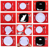 Collage. Composition of forks, knifes, spoons on red background Royalty Free Stock Photography