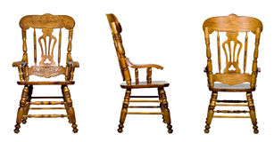 Collage of 3 antique wooden chair views (isolated) Stock Images
