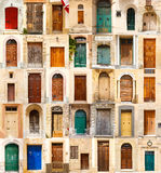 Collage of 35 colourful colored front doors. To houses from Malta Stock Image