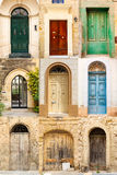 Collage of 9 colourful colored front doors Royalty Free Stock Photos