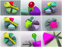 Collage from 9 three-dimensional diagrams. icons. Royalty Free Stock Photos