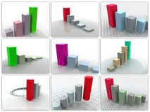 Collage from 9 three-dimensional schedules. Royalty Free Stock Photo