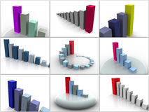 Collage from 9 three-dimensional schedules. icons. Stock Photography