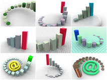 Collage from 9 three-dimensional schedules. icons. 3d Stock Images