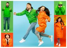 Free Collage About Young Woman And Handsome Bearded Young Man On Vivid Trendy Colors At Studio Stock Photography - 129279362