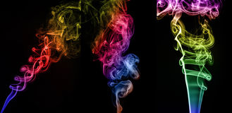 Collage of abstract colorful smoke on black background Royalty Free Stock Photos