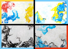 Collage of abstract hand drawn paint backgrounds. Red, blue, yellow, and black patterns. Great for art texture, grunge design, and vintage paper Royalty Free Stock Photos