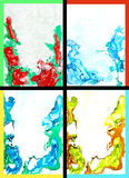Collage of abstract hand drawn paint backgrounds. Red, blue, yellow, and green patterns. Great for art texture, grunge design, and vintage paper Stock Photography