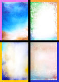 Collage of abstract hand drawn paint backgrounds. Red, blue, yellow, and green patterns. Great for art texture, grunge design, and vintage paper Stock Photo