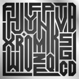 Collage abstracto de las letras del alfabeto de A a Z en fondo del metal stock de ilustración