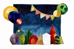 Collage abstrait avec la maison et les planètes d'arbres illustration libre de droits